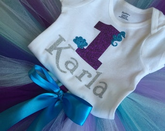 Personalized 1st birthday onsie.  Under the sea inspire; perfect for your mermaid party!