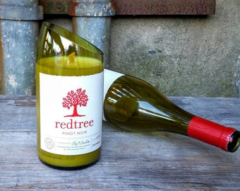 Wine Decor Candle From Upcycled Red Tree Pinot Noir Bottle