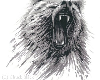 """Grizzly Bear Limited Edition Art Print - """"Grizzly Roar"""" by Chuck Black"""