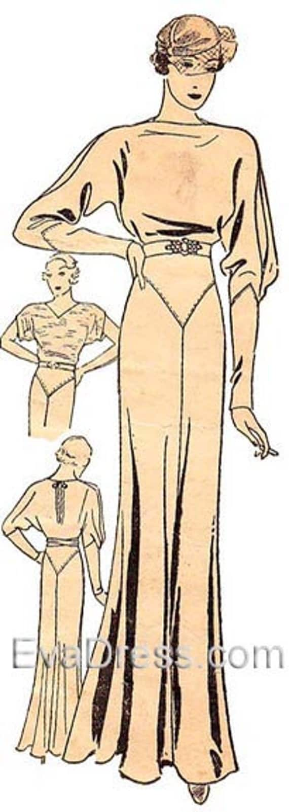 1930s Dresses, Clothing & Patterns Links 1933 Kimono Evening Gown Eva Dress Pattern  AT vintagedancer.com