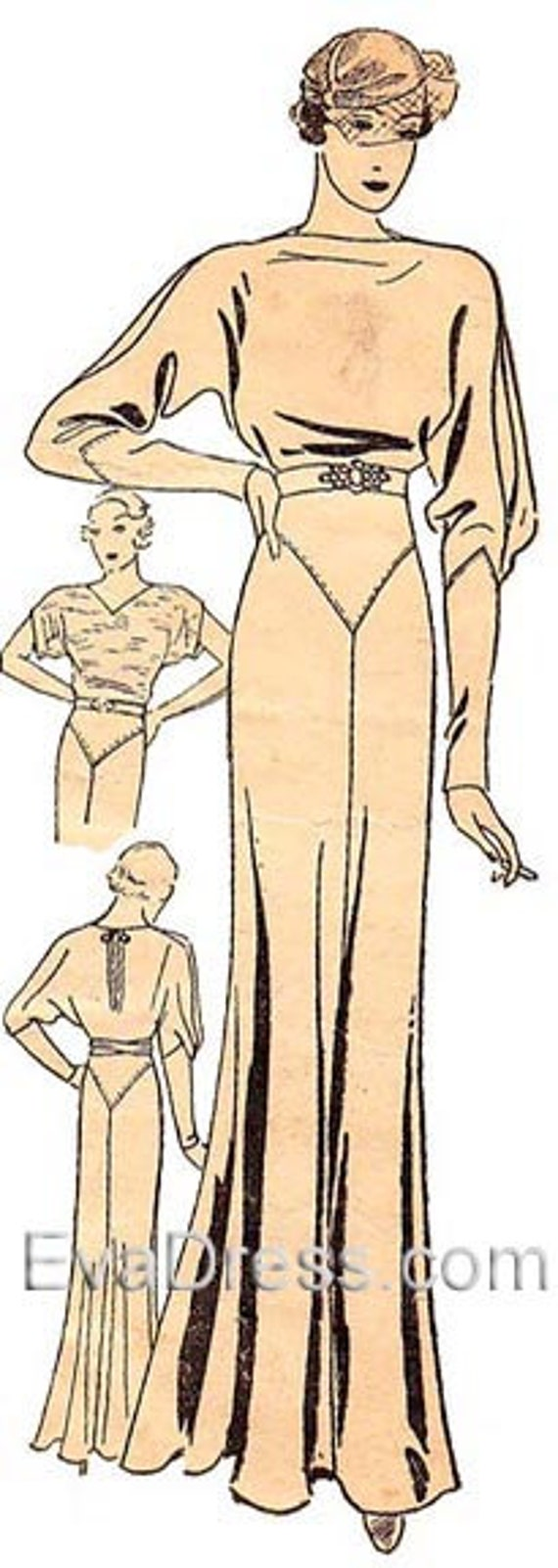 1930s Fashion Colors, Clothing & Fabric 1933 Kimono Evening Gown Eva Dress Pattern  AT vintagedancer.com
