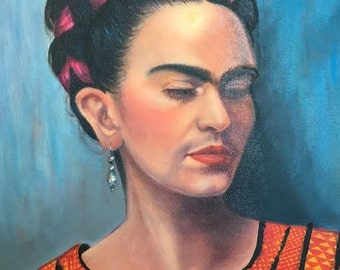 Frida Kahlo | Original art | Oil painting | Mexican artist | Portrait | Mexican Folk Art | Frida Kahlo wall art