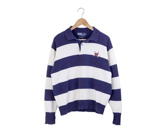 COLLARED POLO SHIRT / striped polo long sleeve shirt / ralph lauren / polo golf / blue and white stripes / vintage / mens / medium