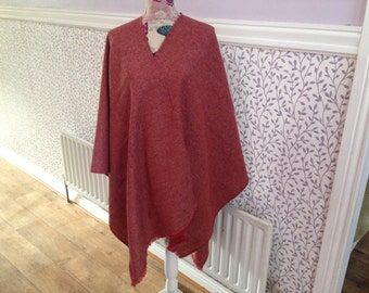 Irish Shawl - Celtic Wrap - Red Ruana - 100% Irish Wool - Perfect throw over for cooler evening