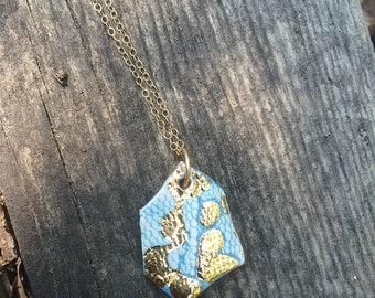 Turquoise Lace Stamped Hexagon Pedant with Gold Luster