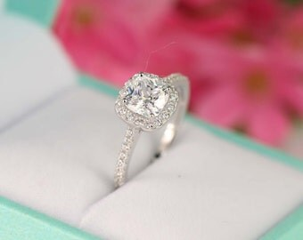 1.3 ct.tw Cushion Cut Ring - Sterling Silver Ring - Engagement Ring - Cubic Zirconia Ring - Halo Engagement Ring - Promise ring