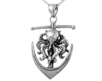 Octopus on Anchor Necklace in Sterling Silver, Octopus Jewelry, Anchor Jewelry, Nautical Jewelry  FD-18-14