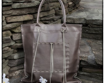 Urban Gray Leather Tote