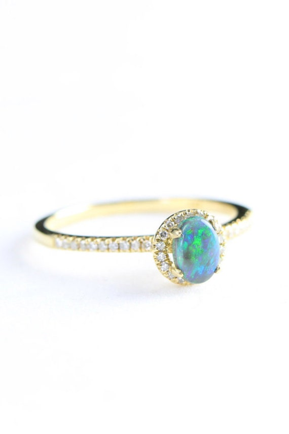 engagement ring black opal and diamond halo in 10 carat yellow. Black Bedroom Furniture Sets. Home Design Ideas