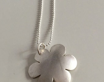 Domed flower pendant necklace, fine silver with sterling silver chain