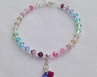 Pastel rainbow birthstone bracelet featuring Swarovski elements, gift for mom, mum's birthday, birthstone jewellery, wife gift, rainbow baby