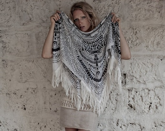 Silk Scarf Square In Black and Off White With Tassels, Tribal Scarf, Tassel Scarf, Bohemian Scarf, Boho Scarf, Hanamer