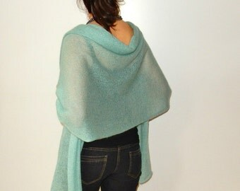 kid mohair silk mint green wedding shawl warm wrap shawl blanket shawl mohair shawl wedding wrap cover up Mother of bride Mother of groom