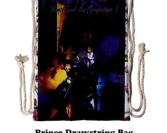 Prince drawstring bag, 70s, Tote bag, books, 80s,prince, music, bags, purple rain