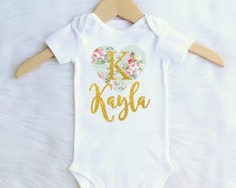 ALL SIZES Personalized Monogrammed girls onesie t-shirt tee vintage heart