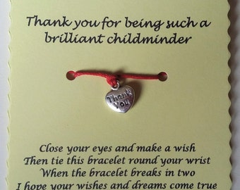 Childminder gift, Thank you Card, Childminder card, Thank you gift, String Cord Bracelet, Wish Bracelet, Childminder Charm bracelet