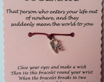 Soulmate Gift, Soulmate wish bracelet, Soulmate bracelet, Christmas gift, String Bracelet, Soulmate Stocking Filler, Stocking Stuffer