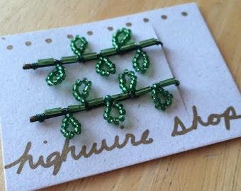 Green Leaflet Beaded Bobby Pins