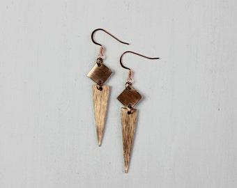 Copper Geo Dangles | Artistic, Lightweight, Earrings