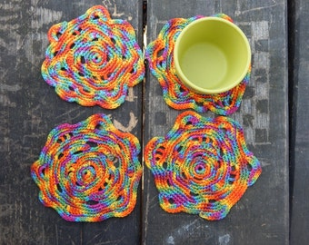 Coasters - Set of coasters - Drink coasters - Crochet coasters - Drink placemats - Free form crochet coasters - Cotton coasters