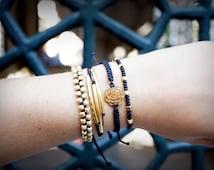Black Gold Bracelet Set, boho chic look, woven bracelet, bohemian seed bead bracelet, pura vida bracelet, stack bracelet, macrame jewelry