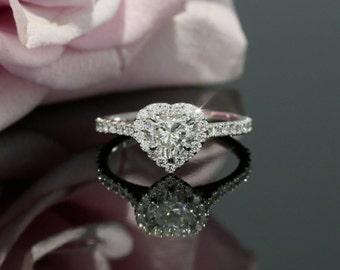 5.5mm Forever Brilliant Heart Moissanite and Diamond Halo Engagement Ring in White Gold (also avail. in rose, yellow gold and platinum)