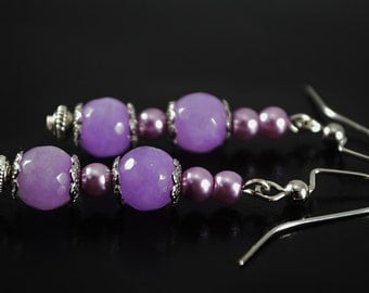 FREE SHIPPING, Purple earrings, lilac earrings, Jade earrings, purple jade earrings, Lavender earrings