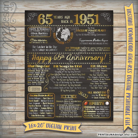 65 Wedding Anniversary Gift: 65th Anniversary Gift 1951 Instant Download By