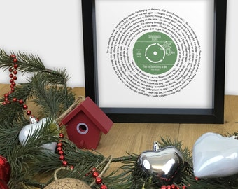 Any favourite song lyrics Vinyl Record look framed print PERSONALISED LABEL - CHRISTMAS Special - wedding first dance anniversary song words