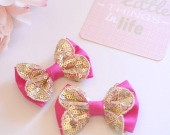 Pink Gold Sequin Lace Bows - LACEY LUXE COLLECTION -  Gold Metallic Sequin Lace Bow - Ladies Girls Toddler Baby Bows - Boutique Bows
