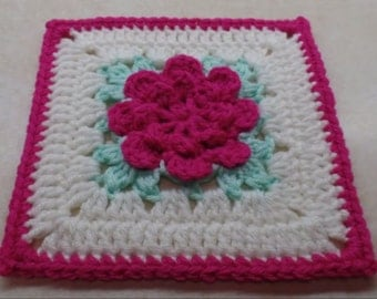Crochet rose Granny Square pattern DIGITAL DOWNLOAD ONLY