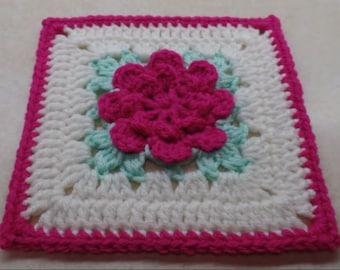 Crochet ROSE Granny Square pattern
