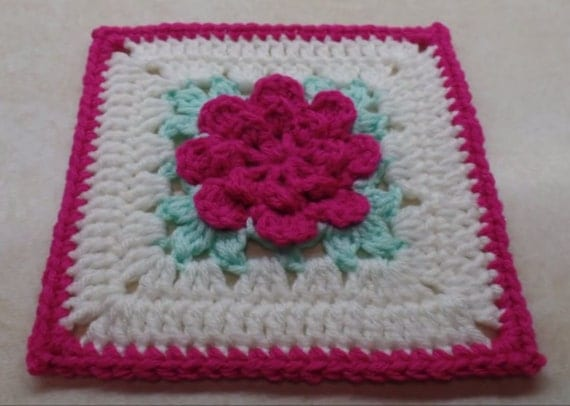 Crochet Rose Pattern Granny Square : Crochet rose Granny Square pattern DIGITAL DOWNLOAD ONLY