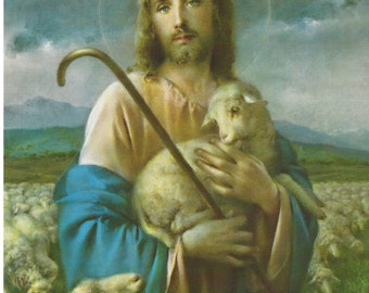"Jesus the Good Shepherd Religious picture Print  - 8"" x 10"" art by Adolfo Simeone ready to frame"