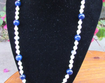 Pearl and Navy Blue Beaded Necklace