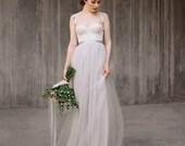 Icidora // Romantic wedding dress - Grey wedding dress - Ballet inspired wedding gown - Rustic wedding dress - Lace wedding gown - Chiffon