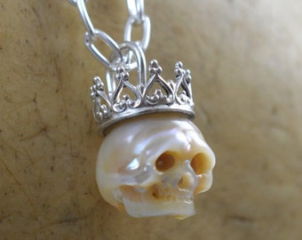Carved Full Pearl Skull Wearing Sterling Silver Crown - Gift -  Christmas Necklace - Skull Jewelry - Pearl Skull - June Birthstone