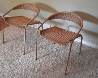 Mid Century Pair of Scoop Back Woven Rattan Lounge Chairs