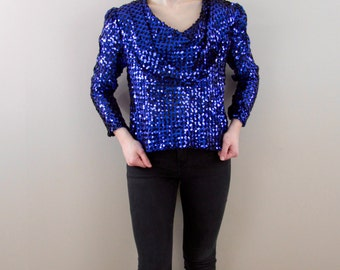 Vintage 1970s Cobalt Blue Sequin Blouse - By Partique NY, Size Small - Sequin Top - Blue Sequins - Vintage Sequin Blouse