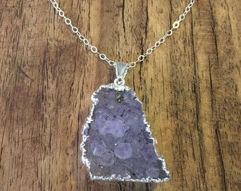 "In Any Shape or Form Necklace - Long Sterling Silver Necklace with Natural Druzy Amethyst Pendant, 30"" long boho necklace"