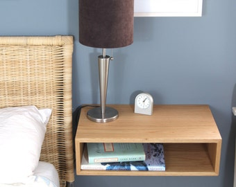 Perfect Floating Nightstand / Bedside Table In White Oak, Walnut Or Maple,  Mid Century Part 7
