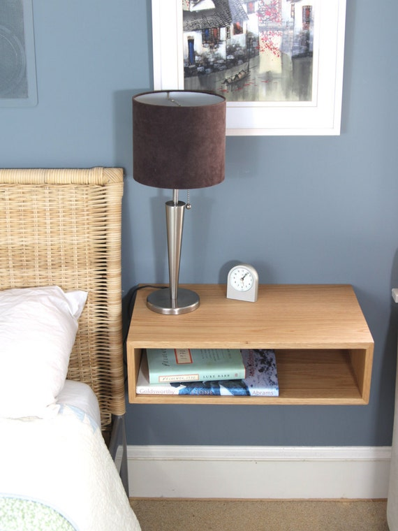 Floating Nightstand Bedside Table In White Oak Walnut Or