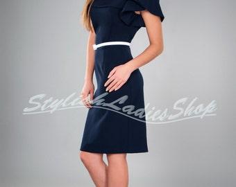 Evening dress pencil dark blue short sleeve Very nice Classic dress.