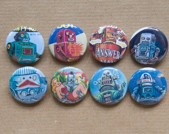 Set of 8 Vintage Robot buttons - robot party favors - 1950s robots, pulp buttons, fifties buttons, robot badges, robot birthday party, flair