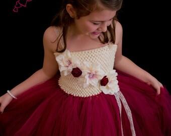White and Burgundy Flower Girl Dress, Flower Girl Dress, Flower Girl Tutu, White and Burgundy, Birthday Dress, Birthday Tutu, Maroon Dress