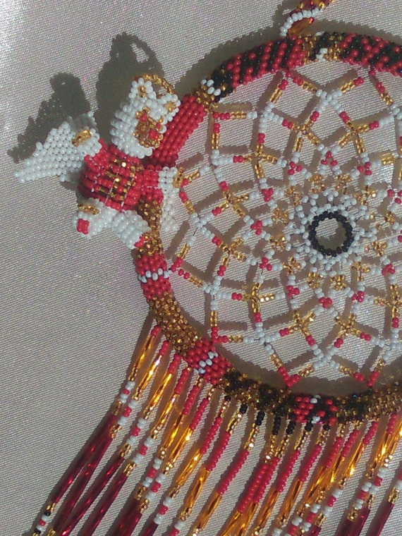 ALL Czech Glass Bead, San Francisco 49ERS, 3-D Beaded Angel Bear Dream-Catcher- window hanging light catcher