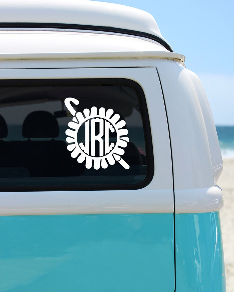 Crochet Lovers Monogram Vinyl Window Decal Car Sticker Craft - Monogram decal on car