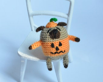 Helloween decor Helloween pumpkin Miniature pug Helloween doll Helloween dog Amigurumi pug Crochet toy Crochet dog Miniature dog Crochet pug