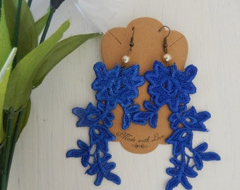 Royal Blue Flower Lace Long Earrings Ivory Pearl Antique Brass FREE SHIPPING!!!
