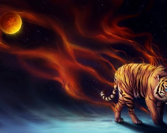 Daybringer - Signed Art Print - Fantasy Tiger Night - Painting by Jonas Jödicke